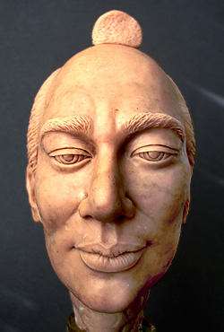 wax modeling of head in progress